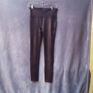 Spanx faux leather leggings in Maroon